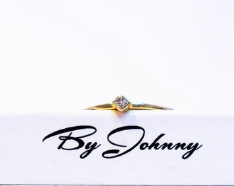 14K Diamond Solitaire Ring, 14k Princess Cut Diamond Solitaire Ring, 14k Solid Gold Diamond Solitaire Ring, Dainty Diamond Engagement Ring