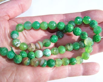 Crab Fire Agate faceted beads 8mm 15 inch strand