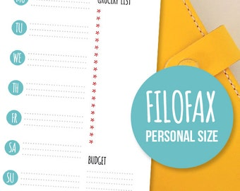 Printable Filofax Weekly Menu Planner - Meal organizer in Filofax' Personal Size. Weight Loss Aid | Diet Log | Food Tracker | Diet Planner