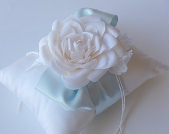 White silk dupioni ring pillow with handcrafted flowers silk white ice blue