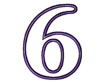 Applique 6 Number Design - Number Applique - Number Font - Birthday - Embroidery Number - Six