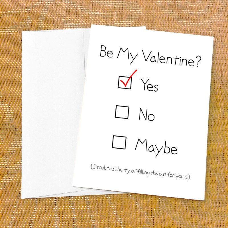 Funny Valentines Day Card for Boyfriend Yes No Maybe – Valentines Card for Girlfriend