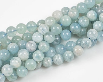 NATURAL aquamarine Smooth round beads in full strands. 4mm, 6mm, 8mm, 10mm, 12mm, 14mm, 16mm