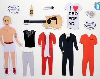 Justin Bieber - Music & TV - Illustrated Fridge Magnets - Original Gift - Paper Doll