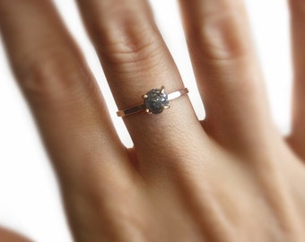 1.48 Ct  Engagement Ring Solid Gold 14K Rough Black Diamond