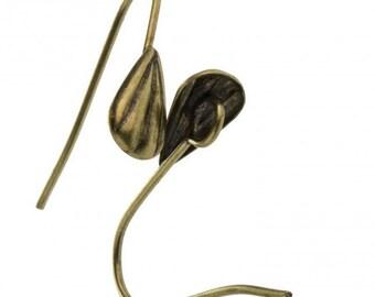 Oxidized brass fish hook earwire . 10 pcs . b9-2422(e)