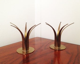 Pair of Mid Century Modern Vintage Brass Crown Candle Holders. Made in Sweden.