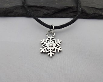 Snowflake Choker, Snowflake Choker Necklace, Charm Necklace, Black Cord Necklace, Snowflake Necklace, Choker Necklace, Christmas Necklace