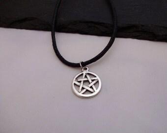 Pentagram Necklace, Pentagram Choker, Charm Necklace, Black Cord Necklace, Pentagram Choker Necklace, Charm Choker, Pentagram Gift