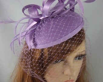 Purple Lilac Felt Hat Fascinator With Satin Loop & Birdcage Veil - Wedding Races