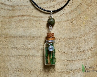 Real dried moss and birch bark glass cork bottle necklace