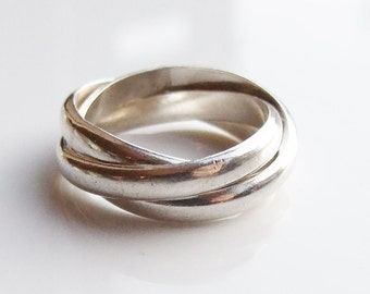 Vintage 925 Sterling Silver Russian Wedding Band Ring Size 6 3/4 - N