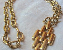 Gold Tone Statement Necklace - Vintage Pendant on Adjustable Chain - Large Running Brick Pattern Necklace - Mod Mid-Century Costume Jewelry