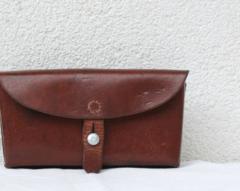 Vintage Swiss Army Leather Ammunition Bag, Beltbag, Ammo Pouch from 1964