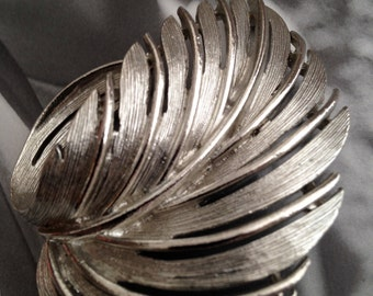 Silver- Toned Fallen Leaf Brooch by Lisner