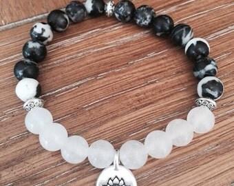 Zebra Stone Snow Quartz Lotus Charm Bracelet