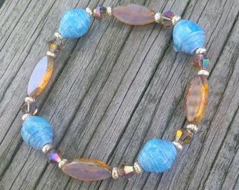Paper Bead Bracelet, Paper Bead Jewelry, Blue Paper Beads, Amber Glass Beads, Paper Jewelry, Paper Beads Elastic Bracelet, Swarovski Beads