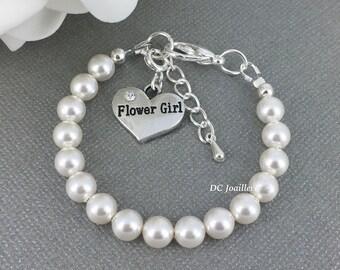 Flower Girl Bracelet White Pearl Bracelet Swarovski Bracelet Bridal Party Jewelry Flower Girl Gift Available in White or Ivory