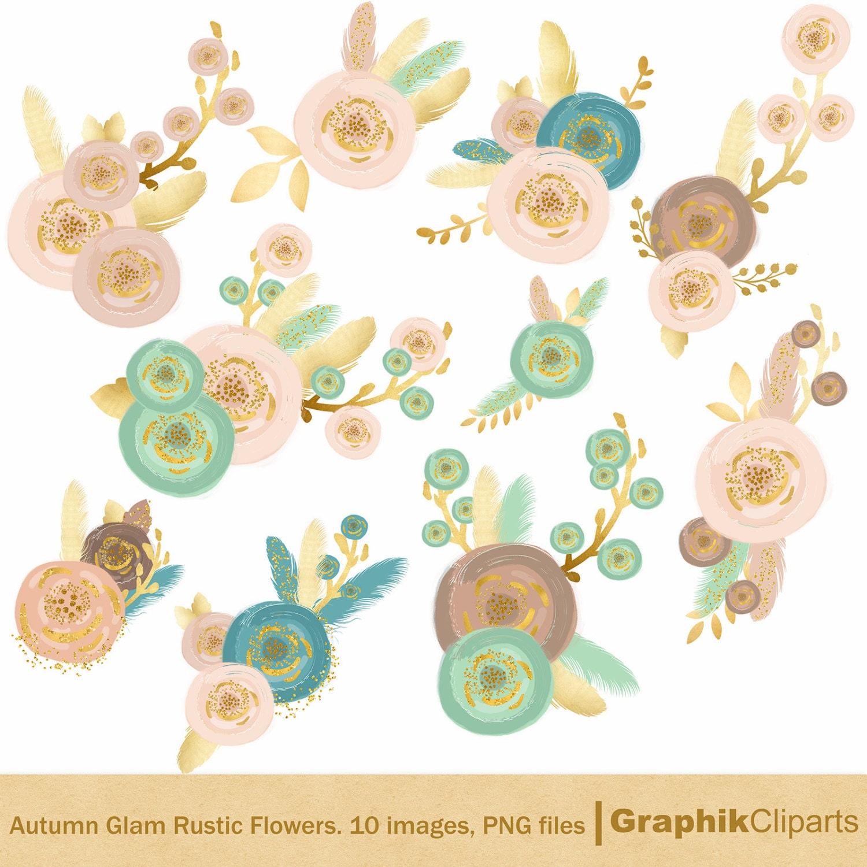 Autumn Glam Rustic Flowers. Rustic Flowers Clip Art. Autumn