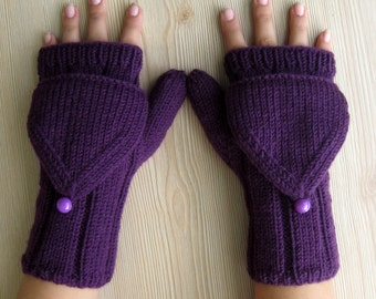 EXPRESS CARGO Purple Capped Fingerless Gloves, Winter Accessories, Winter gloves, Gifts for her, Gifts ideas /// Formalhouse