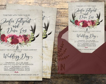 Rustic Wedding Invitation, rustic wedding, invite calligraphy, boho floral wedding, RSVP card, DIY digital invitation set, wood background