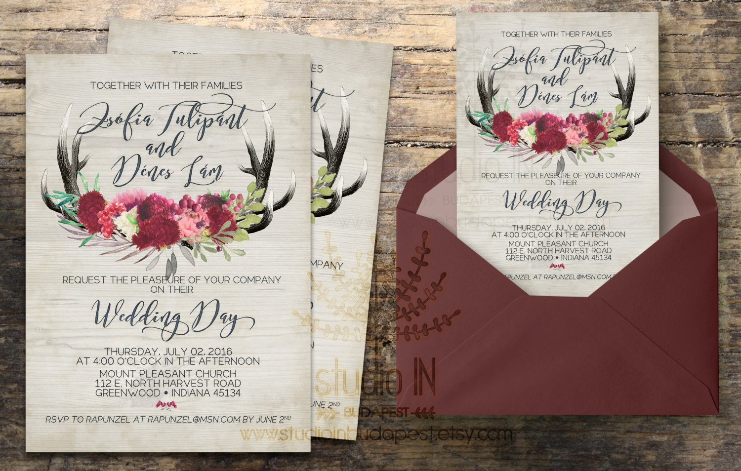 Rustic wedding invitation invite calligraphy