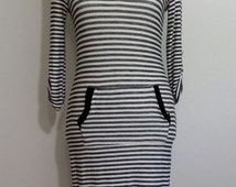 Terrycloth dress, S, M, black and white dress, striped dress, sporty dress, summer dress, hooded dress