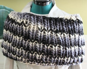 Bulky Black Multi Color-Newsprint Cowl