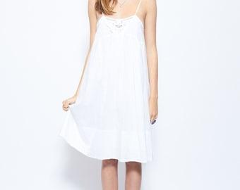 Vintage White Sun Dress 100% Pure Cotton with a Delicate Cut Out Neck Design