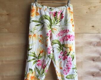 vintage Tommy Bahama linen floral print pants