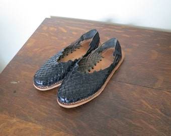 Mexican leather woven flats sling back