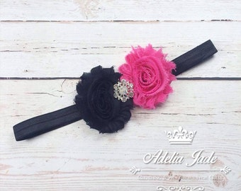 Pink and Black Baby Headband, Baby Headband, Flowery Baby Headband, Shabby Flower Headband, Newborn Baby Girl Headband, Birthday Headband