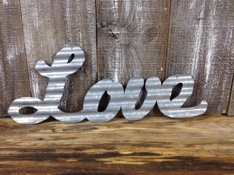 galvanized metal love industrial corrugated bedroom wall art. Black Bedroom Furniture Sets. Home Design Ideas