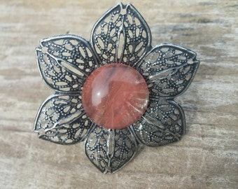 Flower Statement Ring with Pink Stone