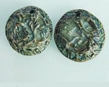 Rustic charms, 2 Textured beads, Round polymer charms, Blue green gray Artisan boho charms, Primitive charms, Organic art beads, Tribal bead