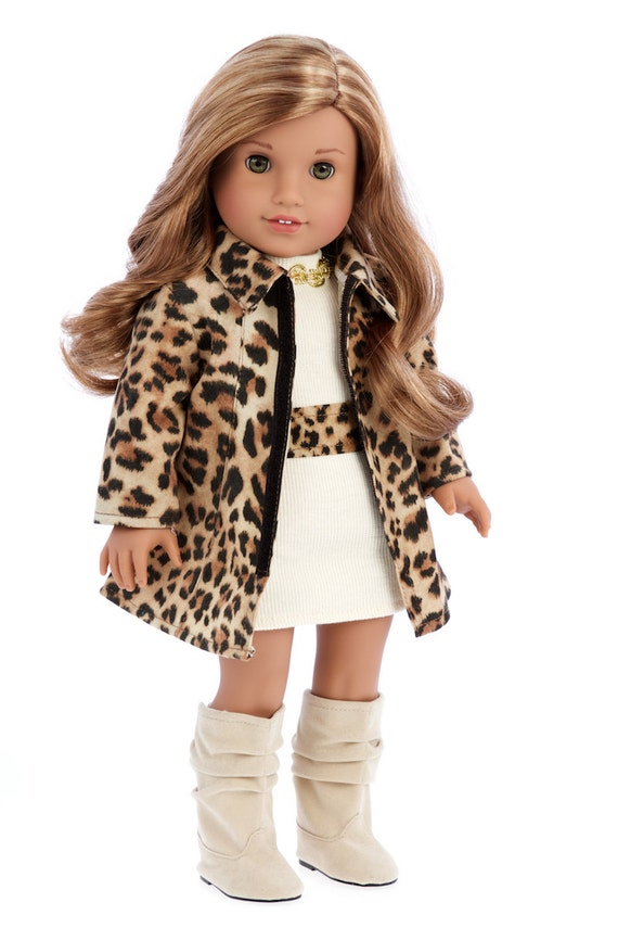 Fashion Girl Clothes For 18 Inch Doll Cheetah Coat Ivory