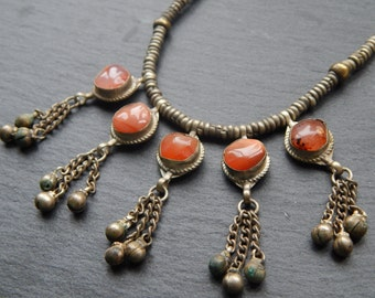 Victorian Antique Necklace with Carnelian and Tassels in Etruscan Design