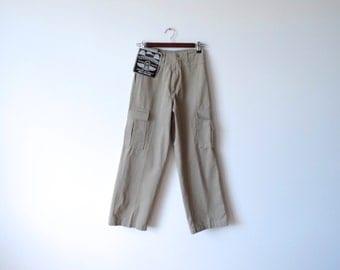 Gray Cargo Pants Vintage Pants Cotton Safari Pants High Waist Pants Size Extra Small