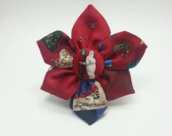 Christmas fabric flower hair clip / Scarf clip / Hatband clip / Recycled holiday neckties