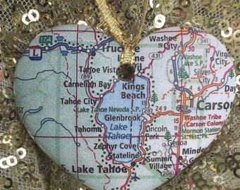 Lake Tahoe Map Ornament