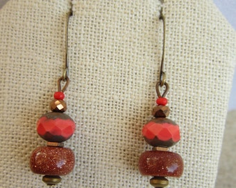 Czech glass and goldstone ear-bobs