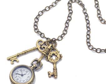 Pocket Watch Necklace, Steampunk Necklace, Watch Necklace, Clock Necklace, Watch Pendant, Steampunk Watch, Alice in Wonderland, Key N311