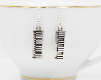 Piano Earrings, Keyboard Earrings, Silver Earrings, Handmade Jewelry, Music Jewelry