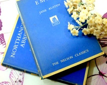 Jane Austen Books Emma and Northanger Abbey Vintage Hardbacks 1940s with Dust Wrapper