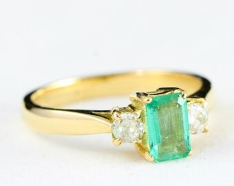 Diamond and emerald engagement ring in 18 carat gold handmade ring for her