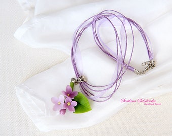 Flower lilac pendant, polymer clay, flowers, cold porcelain ornaments, pendant,  lilac flower, gift.