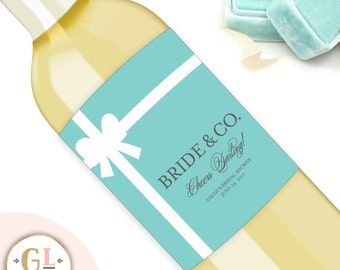 Bridal Shower Champagne Labels, Shower Decorations, Bridal Shower Favors, Bachelorette Party, Unique Gifts for the Bride, Wedding Day Label