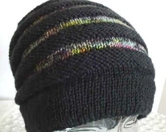 Knit Hat, Banded Hat, Striped Slouchy Hat, Black and Rainbow Cap, Striped Beanie