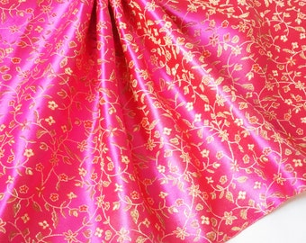 Pink Gold Chinese brocade silk fabric with flowers, leaf pattern, for dress, jacket, pillow, cushion covers and wedding by the yard