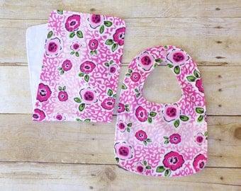 Rose Bib & Burp Cloth Set, Rose Nursery, Rose Baby Shower, Pink Rose Baby,Girl Baby Shower Gift, Flower Baby Shower, Flower Nursery, Reduced